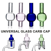 ball bubbles - Universal Colored glass bubble carb cap round ball dome for glass water pipes dab oil rigs XL thick Quartz thermal banger Nails