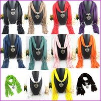 Wholesale 2016 New Fashion Winter Warm Scarf Women Charms Scarf Alloy Hearts Drop Pendant Jewelry Scarves Necklace Scarf