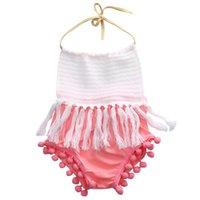 Wholesale Newborn Baby Romper Girls Sleeveless Tassels Strap Romper Cotton Halter Backless Jumpsuit Outfit Clothes New INS Kids Clothing Rompers