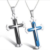 american quality assurance - European and American cross pendant three multi layer stainless steel men s necklace design fashion quality assurance