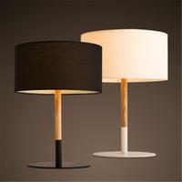 al por mayor escritorio blanco de la vendimia-Retro Cafetería Lámpara de mesa de madera de tela Vintage mesa de luz de la lámpara de mesa de mesa de mesa Luz de escritorio negro / blanco E27,90V-220V