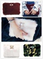 Grossiste-2015 Mode VINTAGE HOLLYWOOD Femmes Fourrure Fourrure D'embrayage / Coton Candy / Bourgogne / Camouflage Jewel Fourrure D'embrayage SOIR PARTY CLUTCH BAG