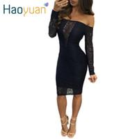 Осень 2017 Новая осень Черное кружевное платье с длинным рукавом Tight Celebrity Party платья Автопортрет с плеча Сексуальная платье Wrap платье 17301
