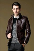 Wholesale Men s leather autumn and winter new middle aged leather jacket imitation of sheepskin leather men s suit jacket