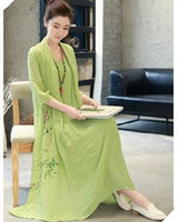Wholesale 2017 New Arrivel Ethnic Clothing Healthy Breathably Soft loose And Elegant Cotton And Linen Long Dress