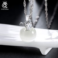 Pendant Necklaces apple elements - 925 Sterling Silver Necklace Cat s Eyes Stone Apple Style Platinum Plating With Genuine Austria Crystal SWA Elements ON31