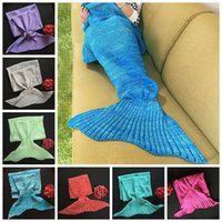 Wholesale 2017 Children Mermaid Blanket Super Soft Winter Warm Hands Crocheted Mermaid Tail Home Portable Blanket Sofa Sleeping Bags