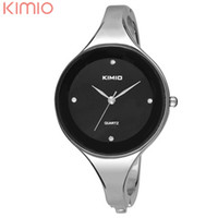 Dress Men's Not Specified Wholesale- KIMIO Cuff Bracelet Watch Hot Sell Silvery Round Face Quartz Bracelet Bangle Watch for Women Clocks