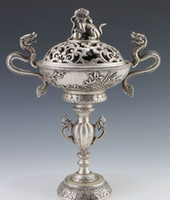 Wholesale Chinese Tibetan Silver Hand Carved Dragon Incense Burner w Hollow Foo Dog Lid