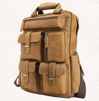 Brun, vrai, cuir, classique, mode, hommes, utilisation, sac à dos, sac à main, bureau, ouvrier, étudiants, jeune