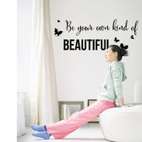 beautiful small bathroom - 25 cm Butterfly Beautiful Engligh Letters Black Wall Stickers DIY Art Decal Removeable Mural Sticker DF5303