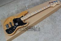 battery factory shop - Free shopping factory custom jazz natural wood Sunburst strings electric bass guitar with V Battery active pickups