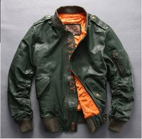 Wholesale New Mens Pilot Jacket Winter Leather Flight Bomber Cruise Collar Coat Windproof Air Force DHL Shipping USA
