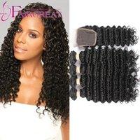 Trama brasileña del pelo humano de la onda profunda brasileña 4 paquetes 400g con 4 * 4 encierro del cordón 7A Paquetes brasileños sin procesar del pelo con cierre del cordón