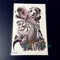 Wholesale Hot body art temporary tattoo Sticker GZW Sexy Oriental large crap fish fake transfer tattoo arm leg men women spray design