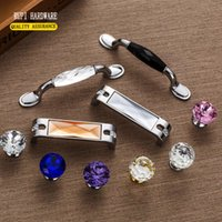Wholesale Crystal double pitch mm and mm hole shake handshandle contemporary and contracted style of cabinet wardrobe drawer handle
