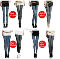 Wholesale 2014 new women thin Ladies wild snow Denim jeans Leggings pencil pants nine Leggings autumn warm trouser LE9004