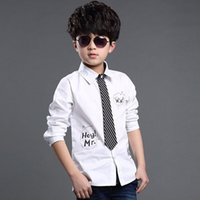 Wholesale 2016 New Designs Kids Formal Dress Shirts with Tie for Boys Brand Preppy Style Letter Print Big Boys Formal Wedding Shirts C012