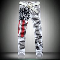 america flag jeans - fashion mens american flag jeans skinny mens jean high quality America men jeans slim fit male denim pantalon homme