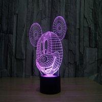 bedside lamp small - Creative Fashion Small D LED Lamp Small Night Lamp Bedside Lamp Mickey Mouse Cartoon Birthday Gift