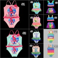 al por mayor niñas trajes de natación-Kids Trolls Frozen Bikini Cartoon Movie Bebés Traje de baño Una pieza de baño traje de baño Beach Swimming Costumes 10 Designs