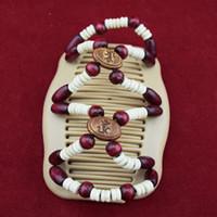 20pcs / lot vin rouge style rond perles en bois classique magique perles peigne femmes accessiorise clips brithday cadeaux de fête