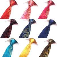 Precio de Venta al por mayor corbata roja-Venta al por mayor Classic Paisley impresión tejida tejida hombres corbata 8cm delgada negocios cuello corbatas para hombres Tie boda azul roja amarilla 12 Modelo A001