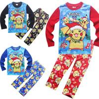 arrival sleep wear - Poke Go Baby Set Children Pikachu Poke Ball Cartoon Outfits Girls Suites New Arrival Cotton Clothing Boys Sleeping Wear DHL