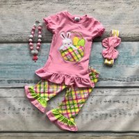 baby bunny outfit - cotton bunny baby Ester day plaid outfit girls SUMMER capris clothes short sleeves boutique RUFFLE with matching Accessories