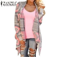 asymmetrical wool jacket - Women Cardigan Fashion Plus Size Fall Asymmetrical Long Cardigans Geometric Printing Loose Casual Spring Shrug Coats Jacket