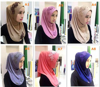 Wholesale Muslim Hijab and Scarf Ethnic Multicolor Headscarf Lace Embroidery Flower Scarf Wraps Lady Ethnic Muse Snapback
