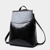 Venta al por mayor-2016 famosos impermeable negro de cuero de la vendimia mochila mujeres escolta estudiantes bolsas de escuela para los adolescentes de espalda paquete