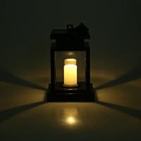 Venta al por mayor-1PCS mano de acero accionado por energía solar LED lámpara al aire libre de la lámpara de la vela de la lámpara incorporada batería recargable de Ni-MH AA