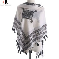 aztec print scarf - Women Fashion Tassel Geometric Folk Aztec Tribal Print Shawl Colors Fall Winter New Design Casual Wrap Scarf