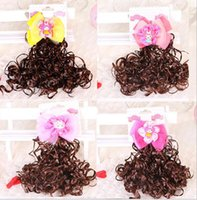 baby gifts wigs - hair bows sell Fashion Wig Ribbon Bow Hair Clip Pin Aligator Clips Flower Baby Girl Baby Girls Hairband hair accessories Xmas gift