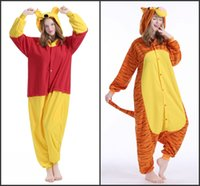 Wholesale 2016 New Winter Jumping Tigger Winnie the pooh sleepwear for women men animal pajamas winter fleece cosplay costume