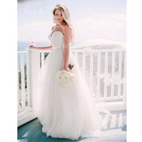 Wholesale 2017 New Arrival Simple White Beach Wedding Dresses Real Photos A Line Spaghetti Straps Appliques Sashes Sweep Train Bridal Gowns