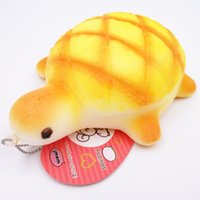 tortue molle achat en gros de-Big monkey 20pcs / lot Jumbo 14cm Kawaii Soft Yellow Tortue Bun Squishy Turtles Collectibles Bread Food Toys