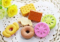 Wholesale Square Round Biscuit Donut Rubber Erasers Kids pencil Eraser Kawaii Cute School Supplies Stationery pack