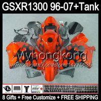 8gift Pour SUZUKI Hayabusa GSXR1300 96 97 98 99 00 01 flammes noires 13MY115 GSXR 1300 GSX-R1300 GSX R1300 02 03 04 05 06 07 TOP orange Carénage
