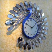 Wholesale Fashion Peacock Design Silent Wall Clock Creative Craft Clocks for High Grade Living Room Bedroom Decor