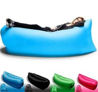 beach chair wholesale - Fast Inflatable Camping Sofa banana Sleeping Lazy Chair Bag Nylon Hangout Air Beach Bed chair Couch Lay bag Inflatable sofa Seconds open