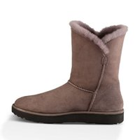 Wholesale Elegant Design Half Snow Boots Fashion Nubuck Leather Colors Plain Winter Warm Shoes for Women