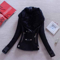 Wholesale New arrival Winter Woollen Coat Women Outerwear Genuine Rabbit Fur Collar Thick Plus Size Wool Coat Parka Casacos Femininos