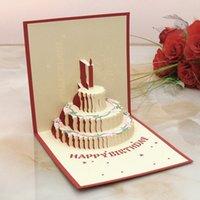 Precio de Velas de cumpleaños barcos-El papel al por mayor-Hecho a mano PARA ARRIBA las tarjetas de cumpleaños con diseño de la vela para la fiesta de cumpleaños libera el envío KT0123