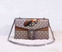 bee bag - Newest style Fashion Vintage design bee embellished Embroidery womens CM GG brand Genuine Leather handbags Cross Body Shoulder Bags Brown