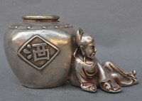ancient chinese statues - 7 quot Marked Old Chinese Silver Ancient Poets Brewmaster Li Bai Statue Pot Jar Crock