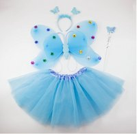 Wholesale pink green in a set princess butterfly wing set costume wing headband fairy wand and tutu Party accessories