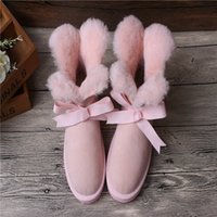 Wholesale new Clover Bow snow boots women s sheepskin wool warm fashion one low boots short boots