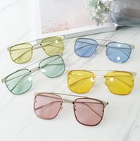 Wholesale Color of transparent ocean square half frame sunglasses sunglasses metal personality night vision goggles